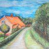 Bauerngarten, Gulfhof, Landschaft, Pastellmalerei