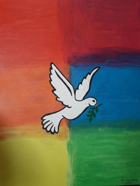 Regenbogenfarben, Frieden, Taube mit ölzweig, Malerei