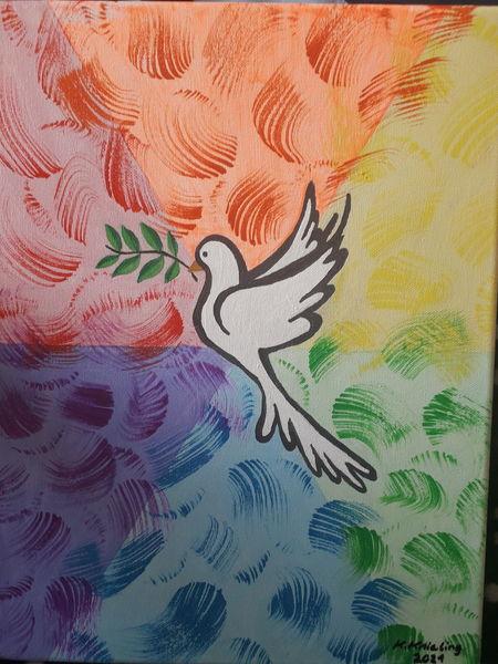 Frieden, Regenbogenfarben in pastell, Farbmuster in normalfarben, Malerei