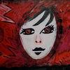 Schwarz, Gesicht, Rot, Malerei