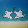 Herz, Taube, Malerei, Frieden