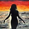 Frau, Bunt, Sonnenuntergang, Malerei