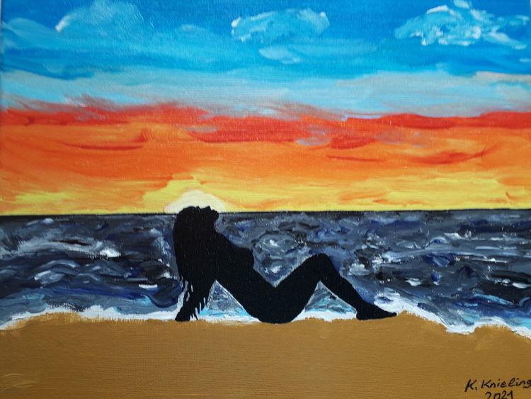 Bunt, Sonnenaufgang, Frau, Malerei, Meer