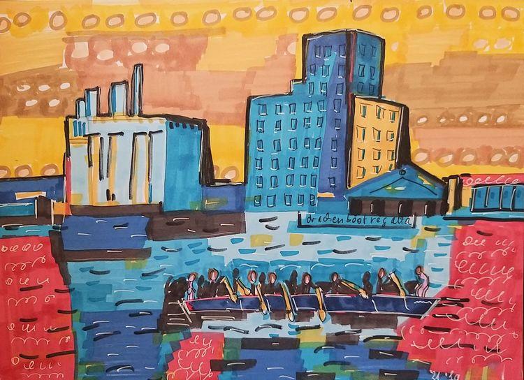 Duisburg, Innenhafen, Drachenbootregatta, Postindustriell, Malerei