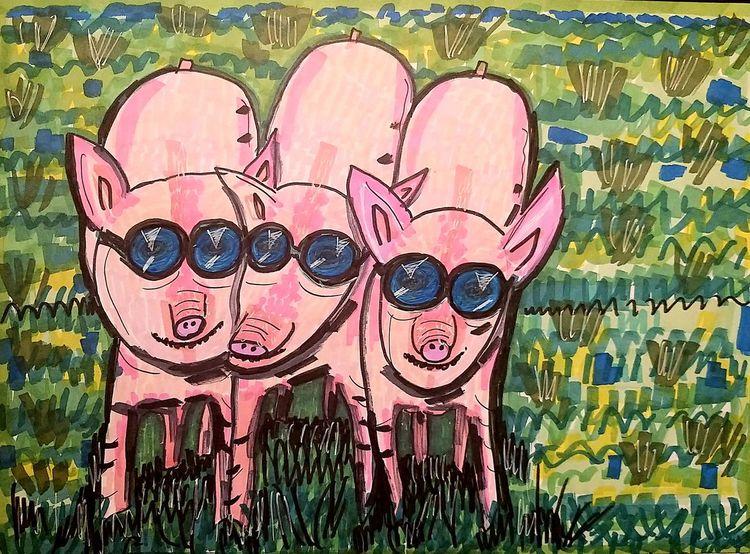 Modisch, Zusammen, Kuschelnd, Ferkel, Wiese, Sonnenbrillen