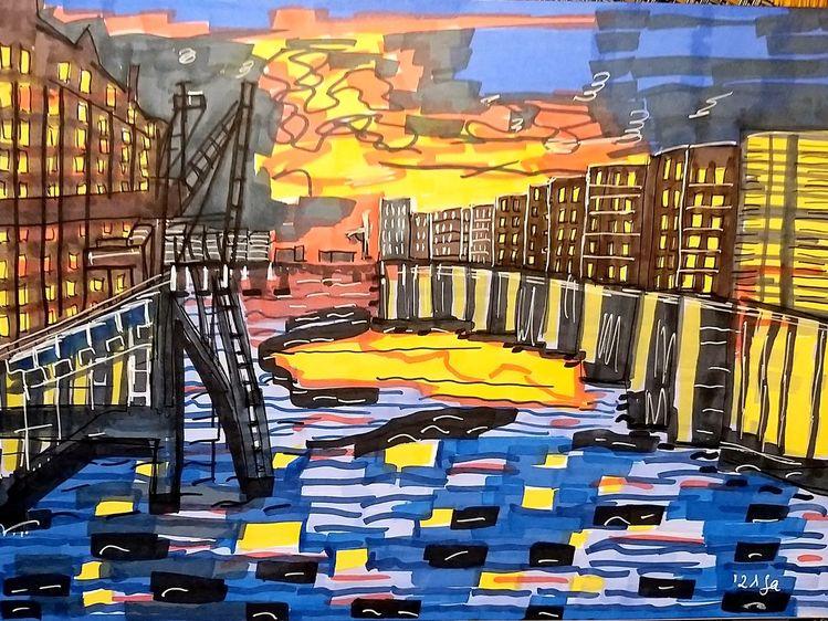 Postindustriell, Innenhafen, Duisburg, Küppersmühle, Malerei, Sonnenuntergang