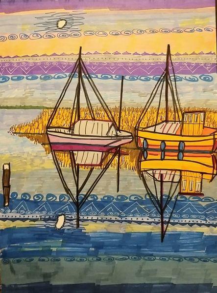 Boot, Zusammen, Sonnenuntergang, Vollmond, Blau, Malerei