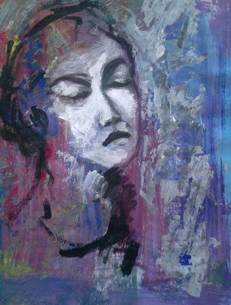 Frau, Farben, Raum, Malerei