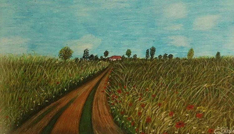 Pflanzen, Malerei, Feldweg