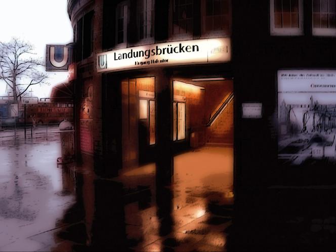 Regen, Fotografie, Hamburg, Landungsbrücken, Architektur