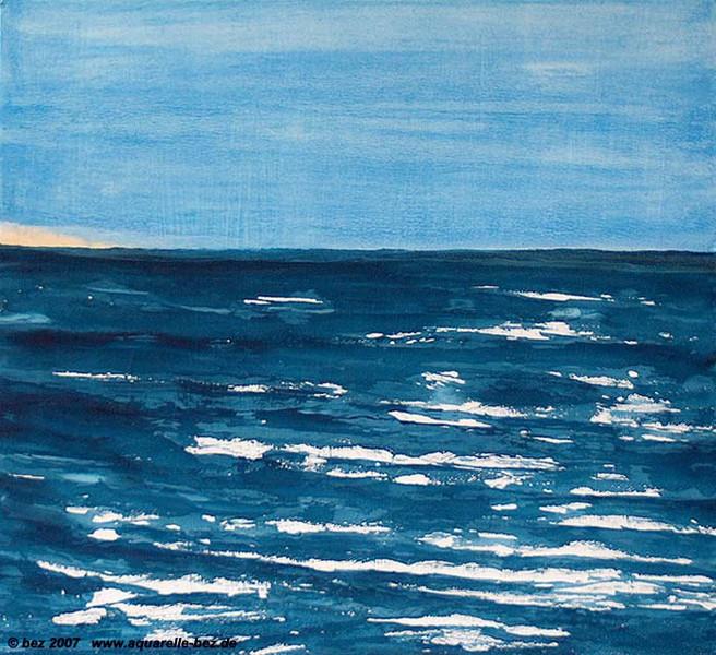 Meer, Welle, Strand, Urlaub, Aquarellmalerei, Landschaft