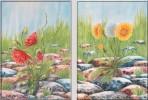 Aquarellmalerei, Stein, Mohn, Malerei