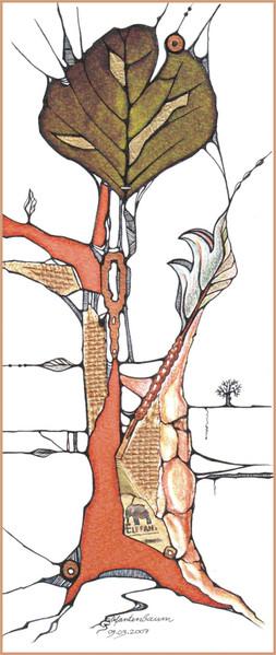 Tuschmalerei, Pastellmalerei, Baum, Collage, Mischtechnik, Grafik