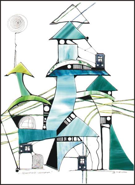 Tusche, Grün, Verbindungslinien, Glasfragmente, Vernetzung, Grafik