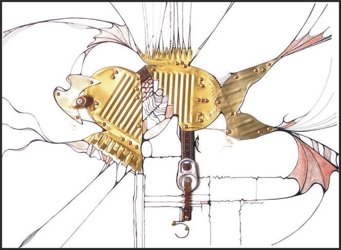 Metall, Collage, Tusche, Grafik