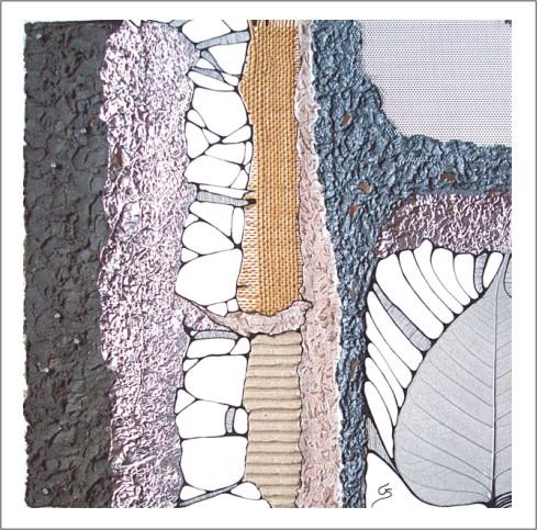 Sandfarbe, Alu, Grafik, Tuschmalerei, Collage, Textil