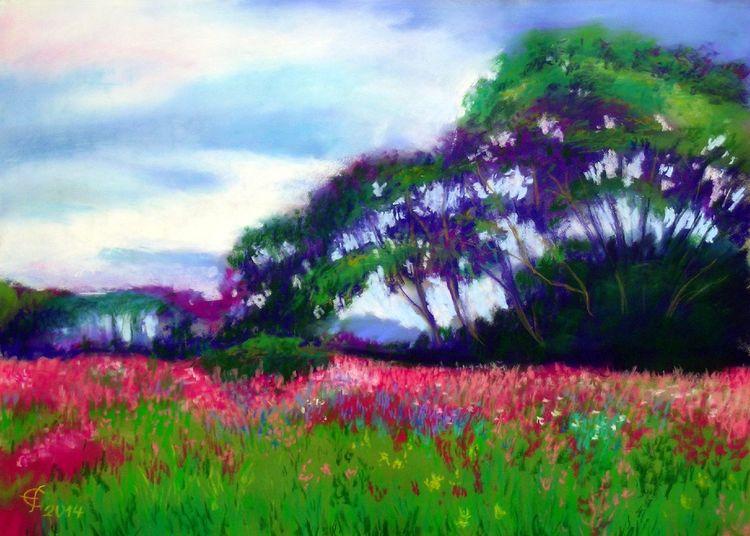 Landschaftsmalerei, Pastellmalerei, Sommer, Malerei,