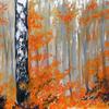 Birkenforst, Landschaftsmalerei, Pastellmalerei, Herbstfarben