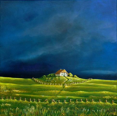 Landschaft, Malerei, Deich, Haus