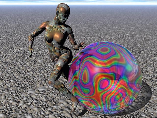 Bunt, Einsamkeit, Modern, Surreal, Ball, Digital