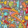 Menschen, Acrylmalerei, Bunt, Gemälde