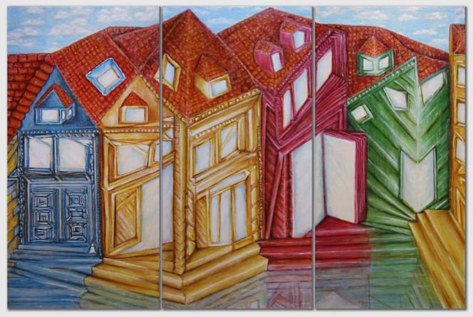 Surreal, Gelb, Himmel, Dach, Geometrie, Grün