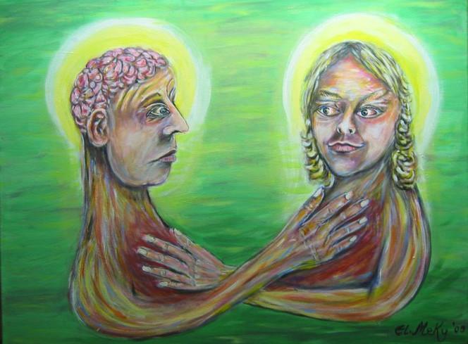 Mann, Versprechen, Malerei, Vertrauen, Hand, Frau