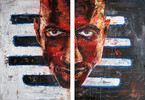 Expressionismus, Rot schwarz, Portrait, Blick