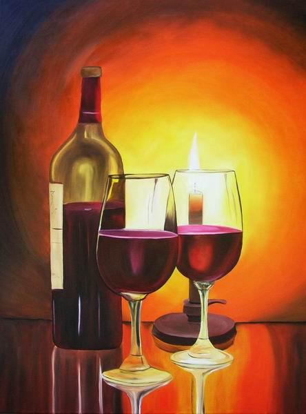 Kerzenschein, Merlot, Malerei, Rotwein, Stillleben