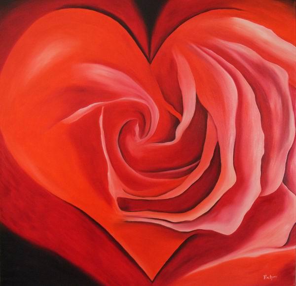 Surreal, Malerei, Rose, Rot, Blumen, Herz