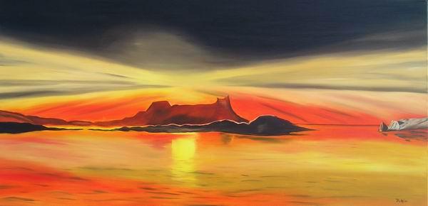 Meer, Malerei, Abend, Landschaft, Sonnenuntergang, Weite