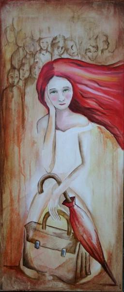 Mädchen, Haare, Regenschirm, Malerei, Rot, Menschen