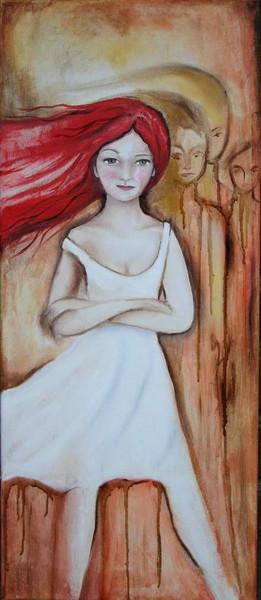 Mädchen, Rot, Haare, Figural, Malerei, Menschen