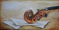 Geige, Schnecke, Noten, Malerei