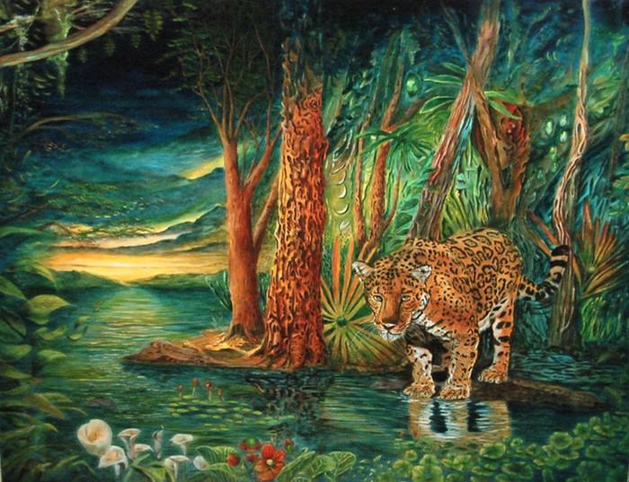 Leopard im dschungel surreal tiere metamorphose baum - Wandtattoo dschungel baum ...