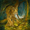 Wasserfall, Surreal, Tiger, Metamorphose