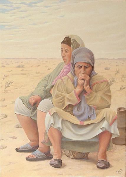 Afrika, Wüste, Arabisch, Contemporain, Orientalisch, Gemälde