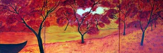 Rot, Fluss, Idylle, Malerei, Surreal,