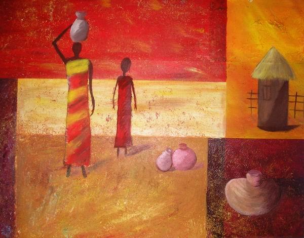 Erdtöne, Rot, Cubis, Afrika, Malerei, Figural