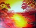 Malerei, Idylle, Landschaft, Rot