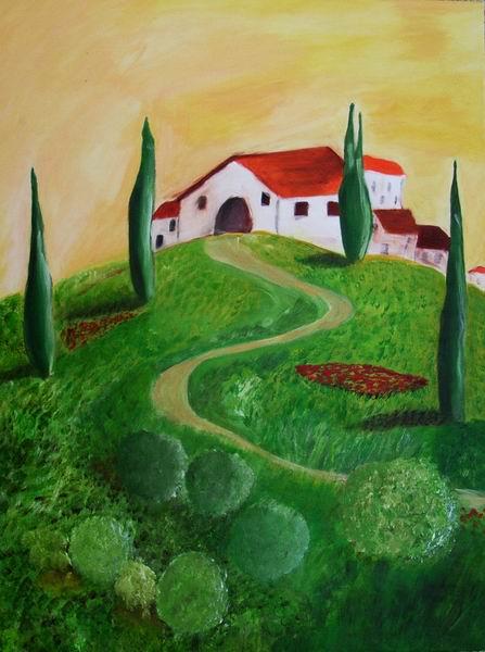 Malerei, Toskana, Landschaft, Italien, Zypressen