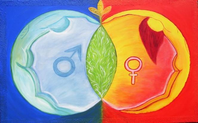 Malerei, Verbindung, Frau, Mann, Anfang, Menschen