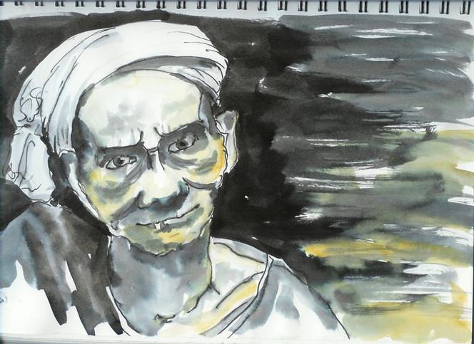 Skizze, Leben, Alt, Portrait, Mann, Zeichnungen