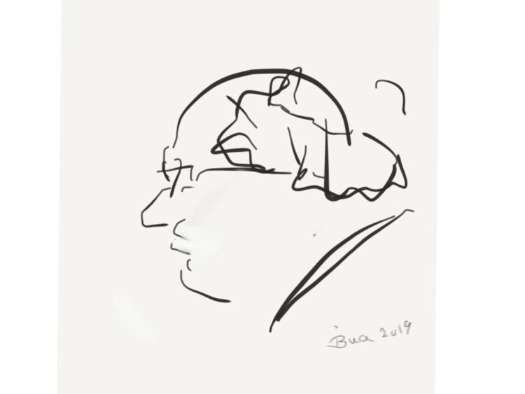 Zeichnung, Handy, Portrait, Finger, Zeichnungen, Mann