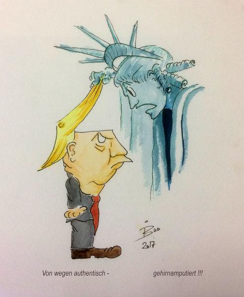Amerika, Präsident, Trump, Gehirnamputiert, Zeichnungen