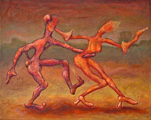 Fantasie, Abstrakte malerei, Mischtechnik, Acrylmalerei, Spachteltechnik, Tanz