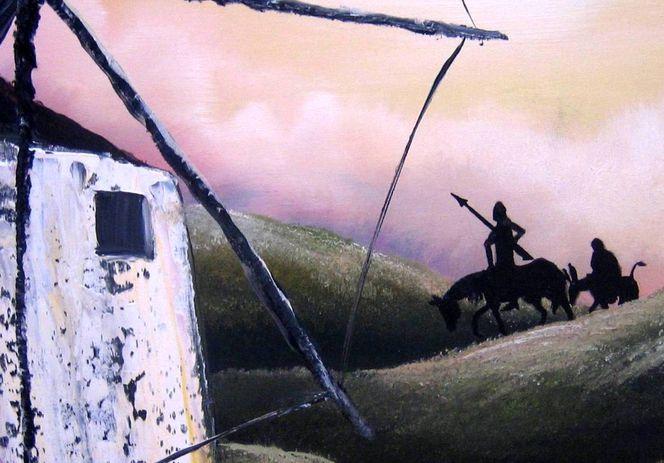 Sonnenuntergang, Don quichotte, Landschaft, Spanien, Mühle, Malerei