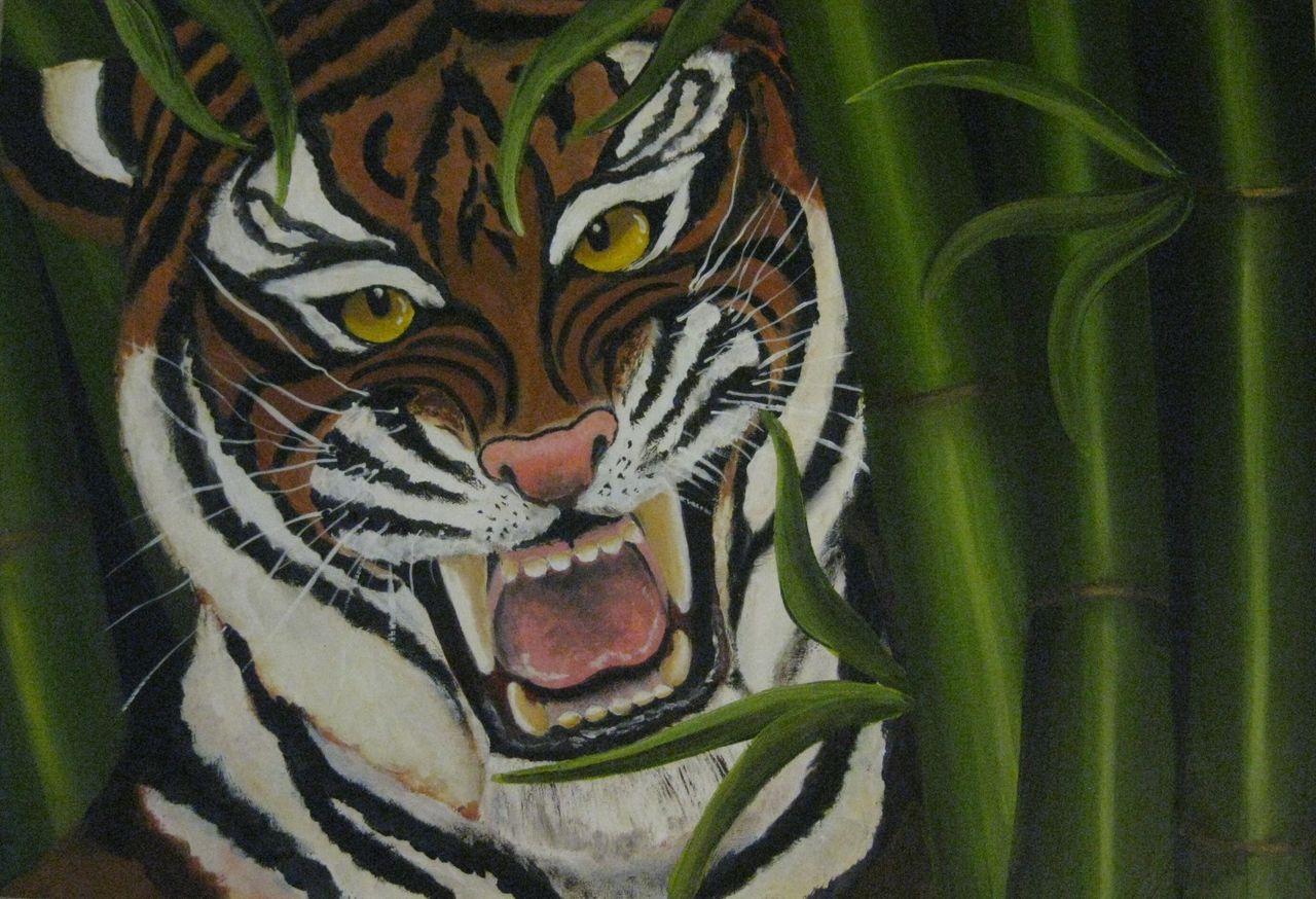 Tiger Im Bambus Tiger Bambus Malerei Tiger Bambus Von Nordica69