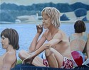 Sommer, Menschen, Gruppe, See