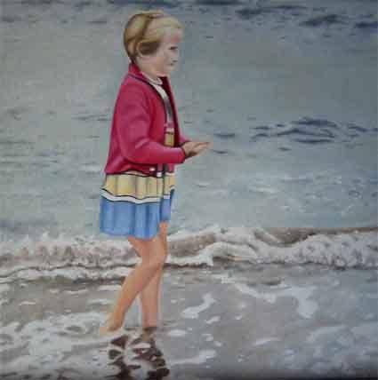 Malerei, Meer, Mädchen, Welle, Figural, Menschen